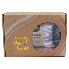 Violet wheat bag, pink eye pillow & body oil gift pack