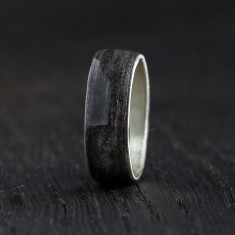 Silver bentwood ring in black