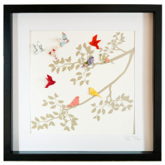 Birds of paradise framed art work