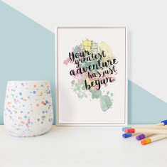 Your greatest adventure has just begun quote - framed mini print