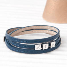 Personalised Leather Wrap Dice Bracelet (Various Colours)