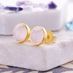 Cupcake Stud Earrings In Gold Plate With Rose Quartz