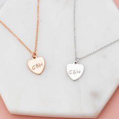 Personalised hand stamped heart initial and ampersand necklace in silver or rose gold