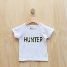 personalised wild animal print t-shirt in yellow or pink