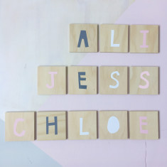Personalised alphabet art in soft pinks