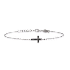 Mini side cross bracelet with natural black spinel stones