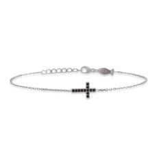 Mini side cross bracelet with natural black spinel stones