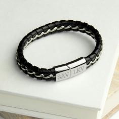 Personalised Men's Metal Detailed Leather Bracelet