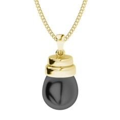 Black drop pearl with yellow gold necklace