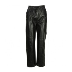 Black Ezra leather elastic waist pants