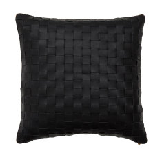 Black leather woven cushion cover