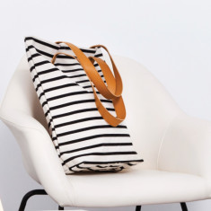 Black stripe tote bag with limited edition leather straps