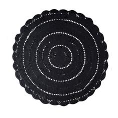 Black crochet rug