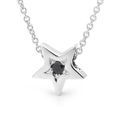 Silver black sapphire baby star necklace