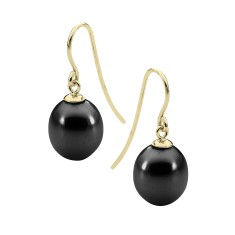 Black pearl yellow gold drop earrings