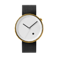 Polygon watch with gold case and black leather strap