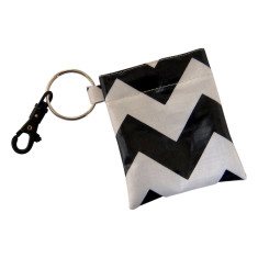 Black and white waterproof coin pouch key ring and clip