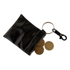 Black ink waterproof coin pouch key ring and clip