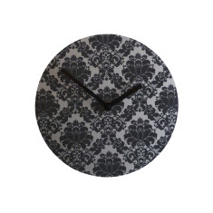 Objectify Black Damask Luxe Wall Clock