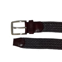 Woven elastic black with white speck men's belt