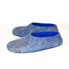 Women's felt slippers in blue wave (various sole colours)