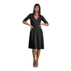 Pima cotton wrap dress in noir
