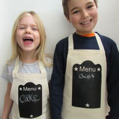Drawn on apron in blackboard print