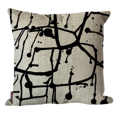 Black ink splash cushion