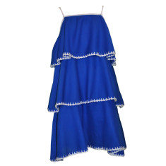 Blanket stitch dress in blue with white