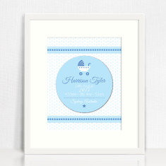 Framed Boy's Personalised 3D Birth Print