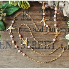 Bliss gold swallows and semi-precious stone necklace