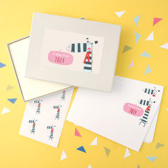Personalised zebra notecards writing sets