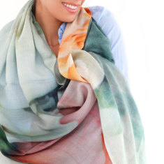 Cashmere Peonies Printed Scarf