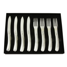 Laguiole by Louis Thiers Organique 8-piece polished stainless steel steak knife and fork set