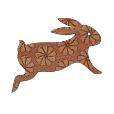 Blooming bunny engraved wooden brooch
