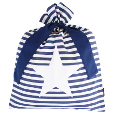 Blue classic stripe Santa sack with star design