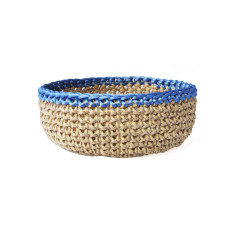 Jute bowl with blue trim