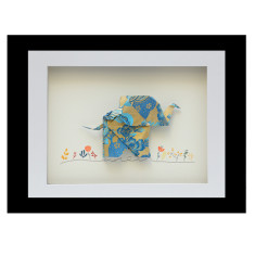 Happy elephant origami frame