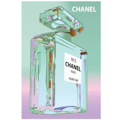Chanel bottle print in blue and pink