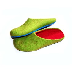 Women's felt slippers in lime green (various sole colours)