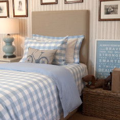 Blue gingham doona cover set