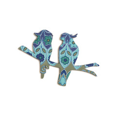 Cockatoo and kookaburra wall plaque in purple and teal vintage-style wallpaper