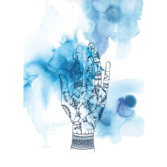 Blue wash hand archival art print