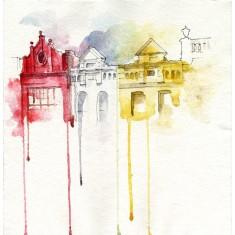 Rainbow houses print