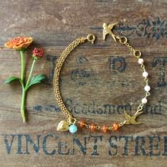 Blythe gold swallow heart & semiprecious stone bracelet