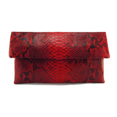 Scarlet red motif python leather classic foldover clutch