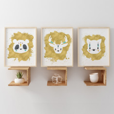 Panda, Stag & Fox Animals Gold Nursery Art Prints (Set of 3)