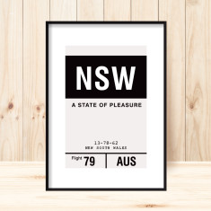 New South Wales luggage tag art print (more colours)