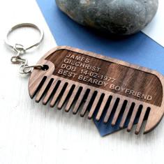 Personalised beard comb keyring