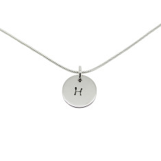 Personalised sterling silver initial circle necklace